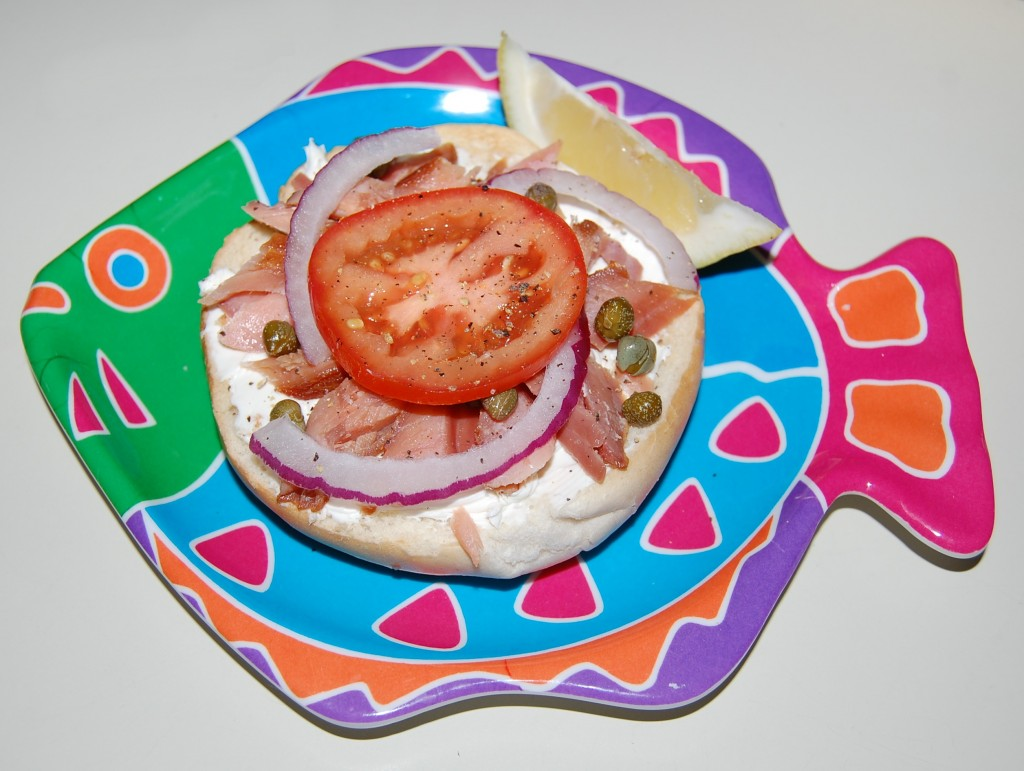 Smoked Salmon Bagels With Garden Vegetable Cream Cheese