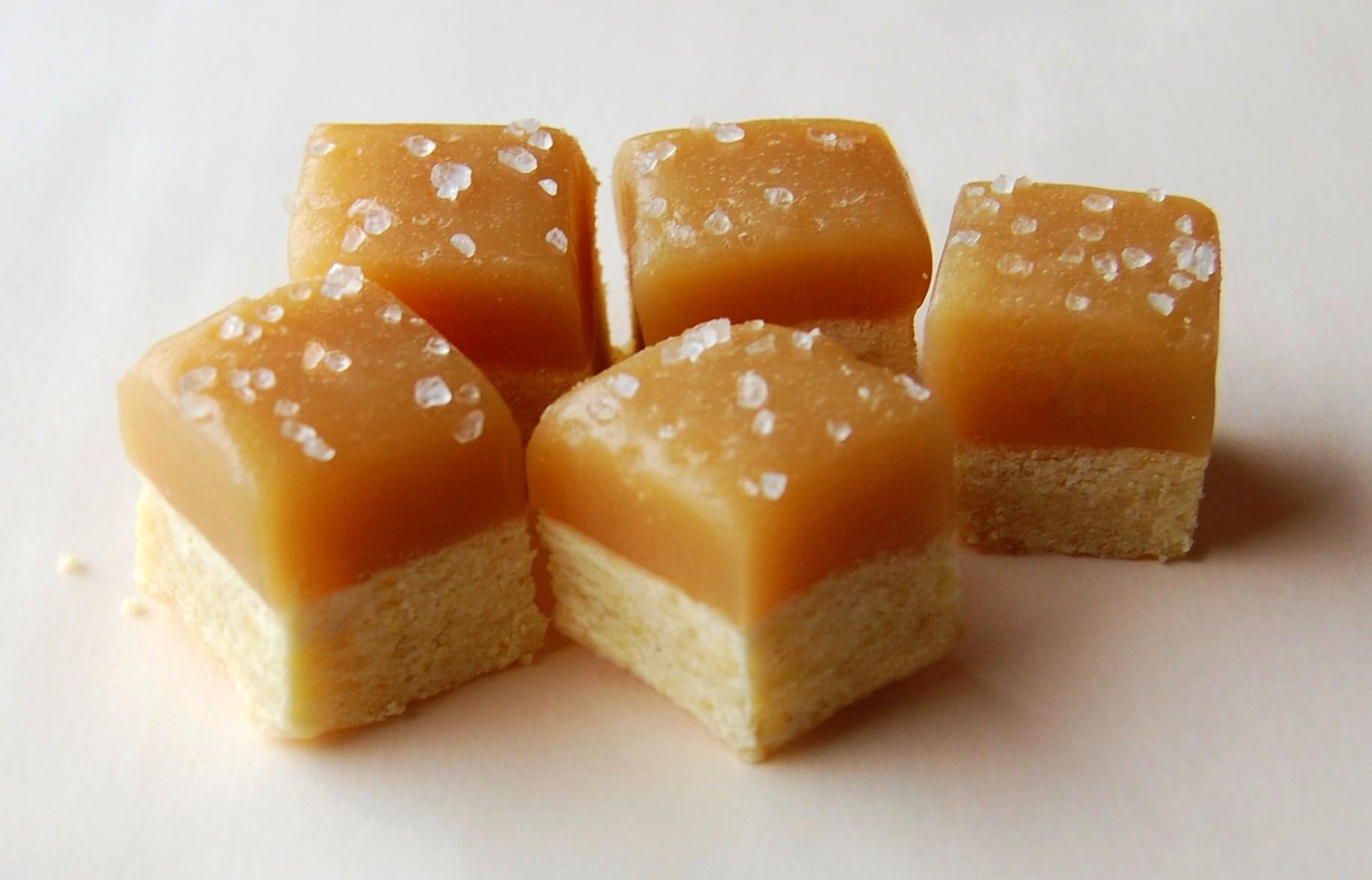Caramel Topped Shortbread Bites Recipe — Dishmaps