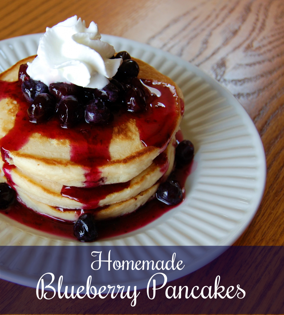 Blueberry Pancakes with Homemade Blueberry Syrup