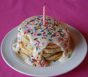 Confetti Pancakes with Vanilla Glaze