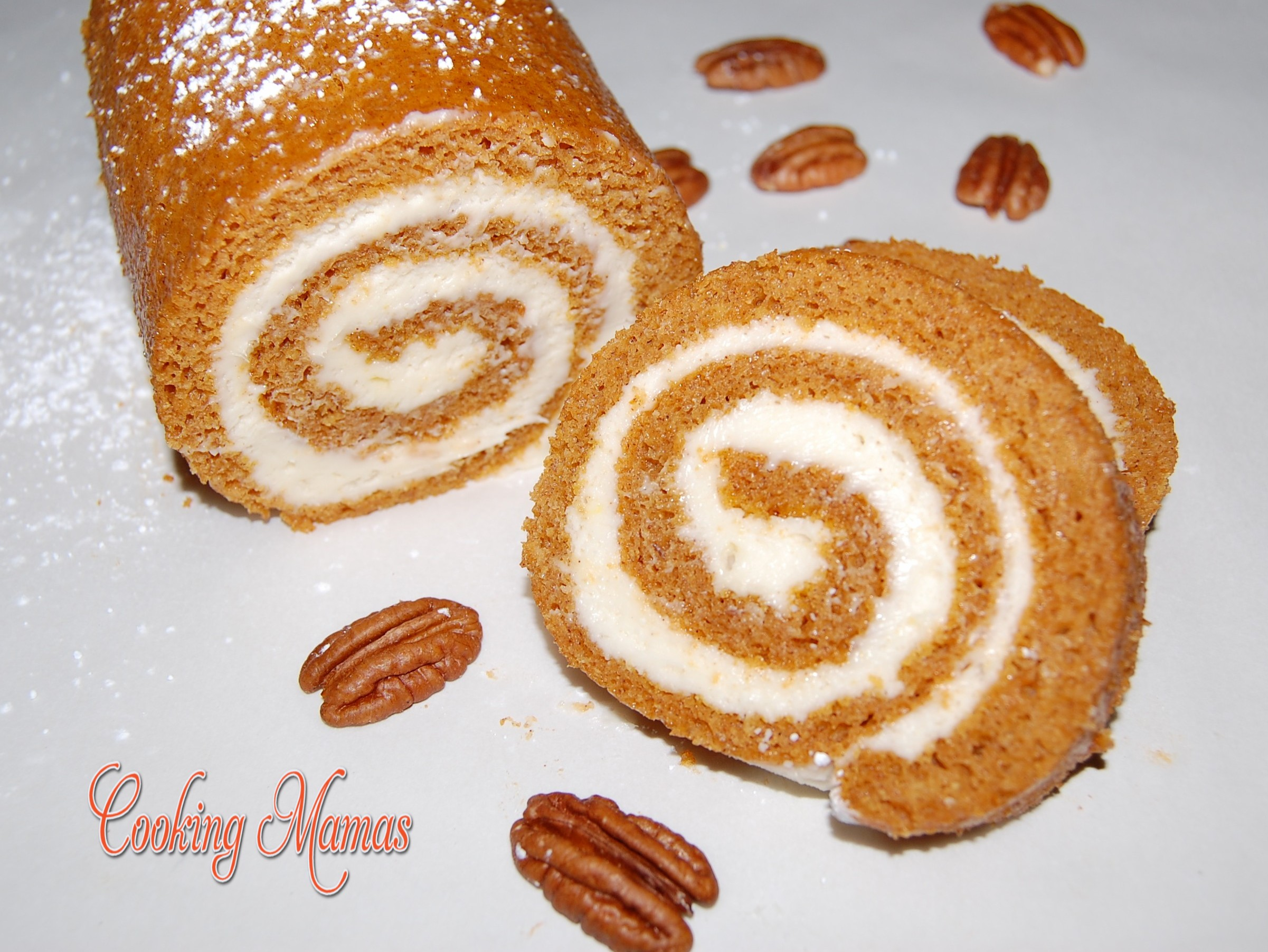 Pumpkin Roll with Cream Cheese Filling | Cooking Mamas