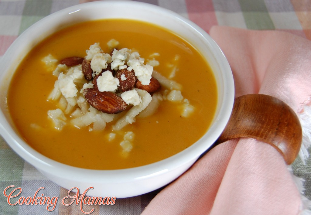Butternut Squash Soup with Apple, Gorgonzola and Almonds