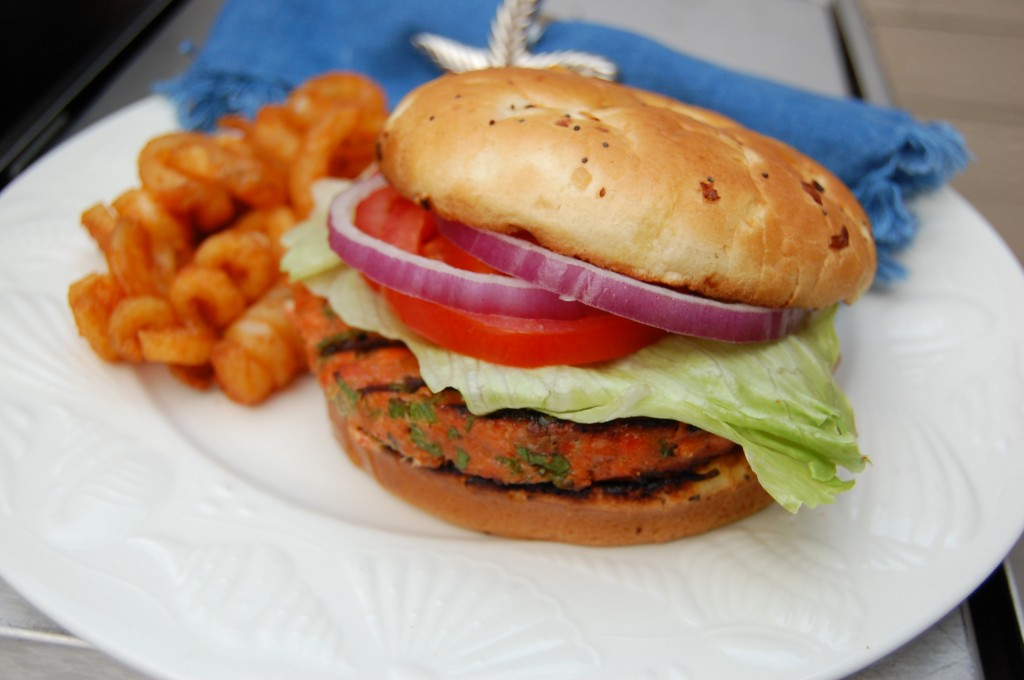 Grilled Salmon Burgers with Hoisin & Ginger
