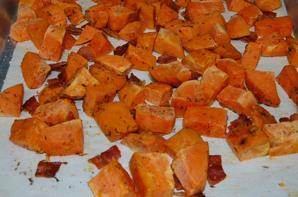 Oven Roasted Sweet Potatoes with Bacon and Maple Drizzle