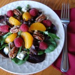 Raspberry Mandarin Orange Salad with Candied Walnuts