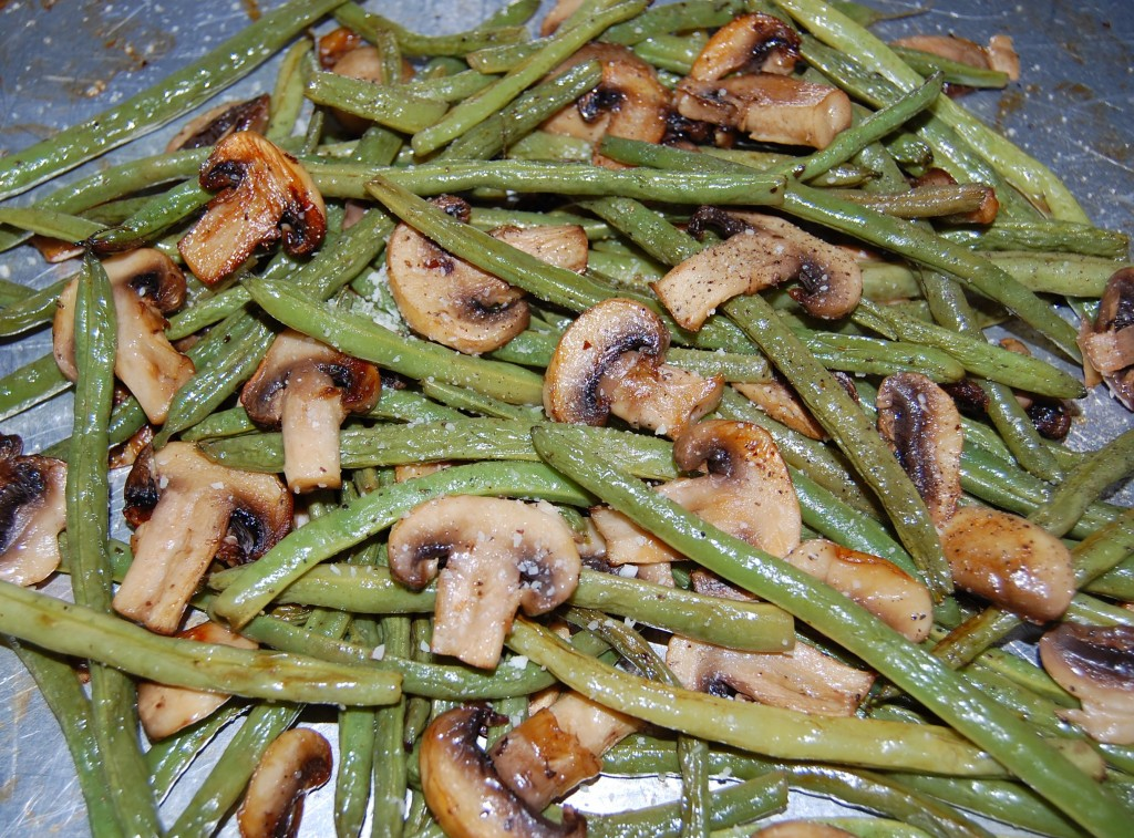Roasted Green Beans with Mushrooms, Balsamic and Parmesan | Cooking ...
