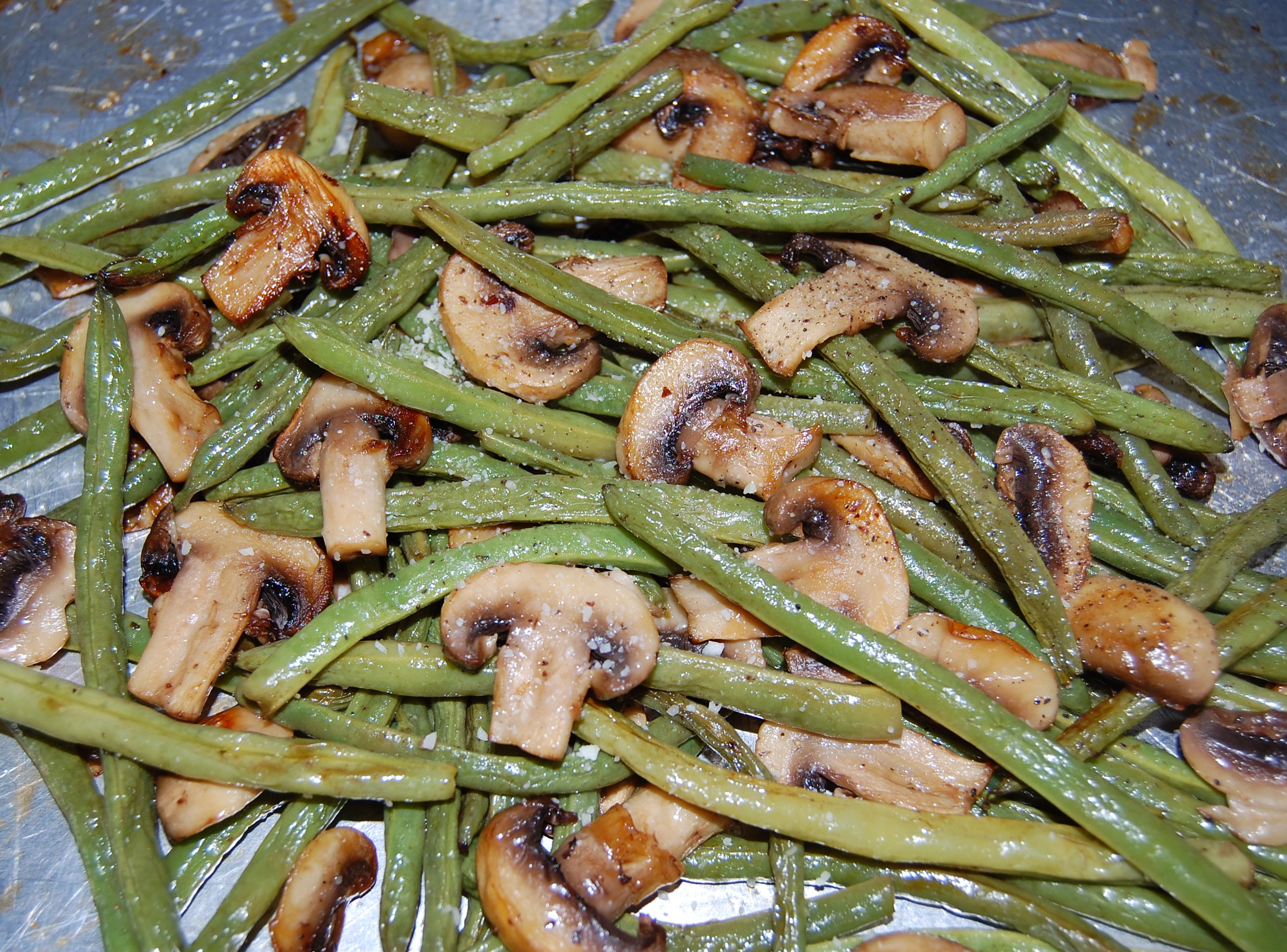 polenta with green beans mushrooms peas and leeks roasted green beans ...