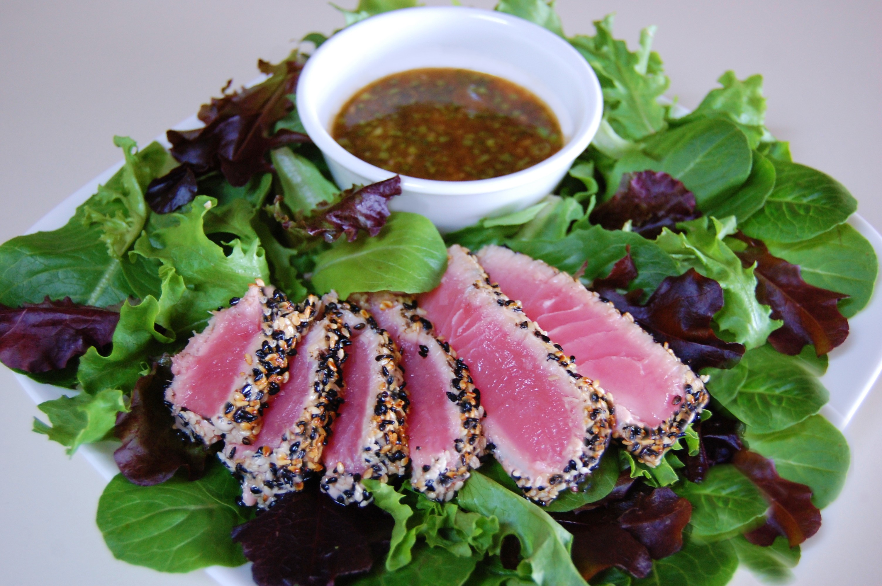 tuna is sesame crusted tuna steak with sesame crusted tuna on arugula ...