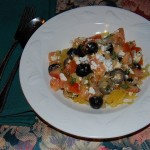 Spaghetti Squash with Fresh Tomato, Basil, Olives and Feta