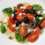 Spaghetti with Tomatoes Black Olives and Feta