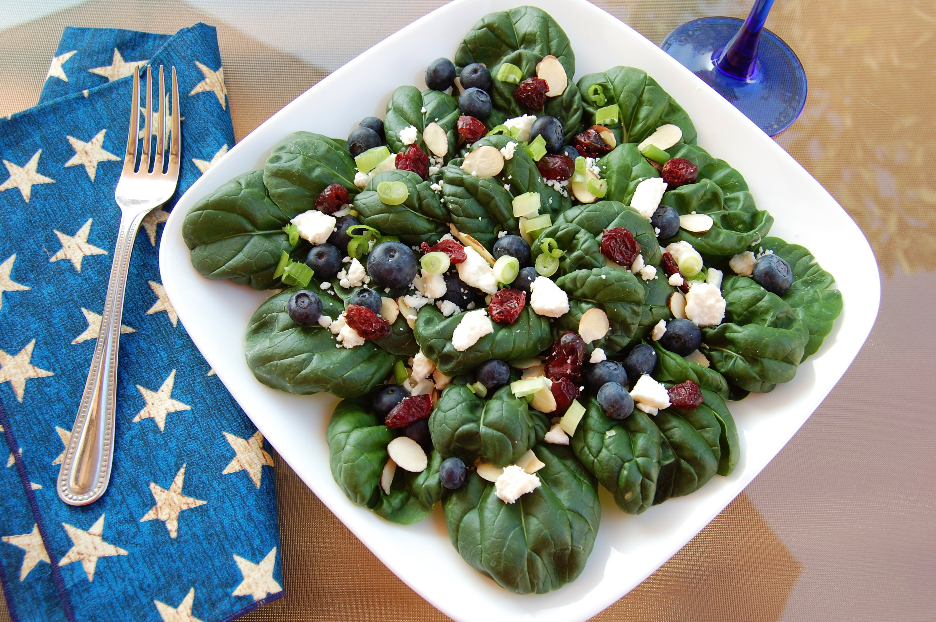 Spinach Salad With Fruit, Almonds, And Feta Cheese Recipe — Dishmaps