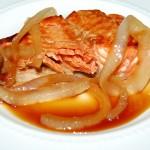Teriyaki Salmon Topped with Sweet Onions