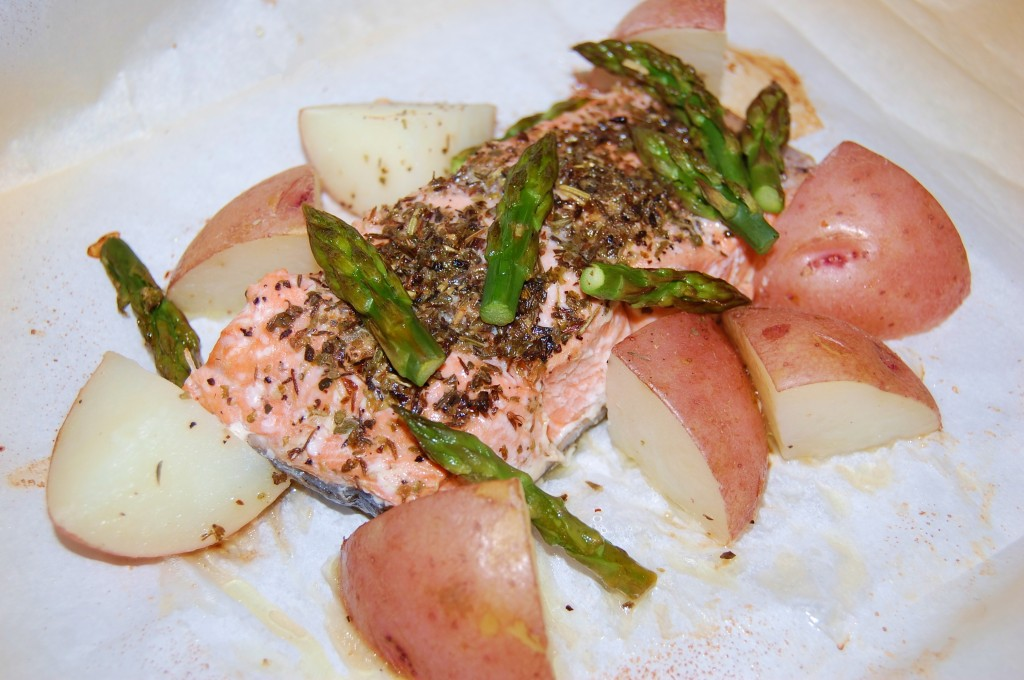 Salmon Poached in Parchment Paper