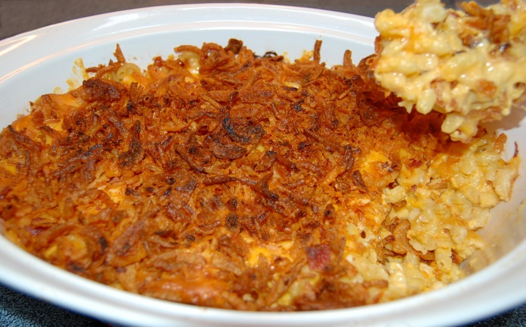 Bacon Macaroni & Cheese Topped with French Fried Onions