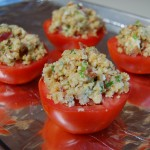 Oven Roasted Tomatoes with Bacon and Blue Cheese