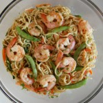 Spicy Yakisoba Noodles with Shrimp and Snow Peas