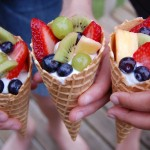 Fresh Fruit and Yogurt Cones