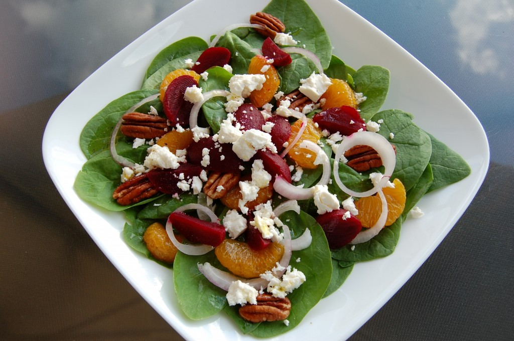 Pickled Beet and Mandarin Orange Spinach Salad