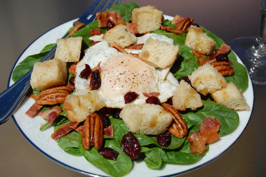Breakfast Salad with Cinnamon Toast Croutons and Maple Vinaigrette