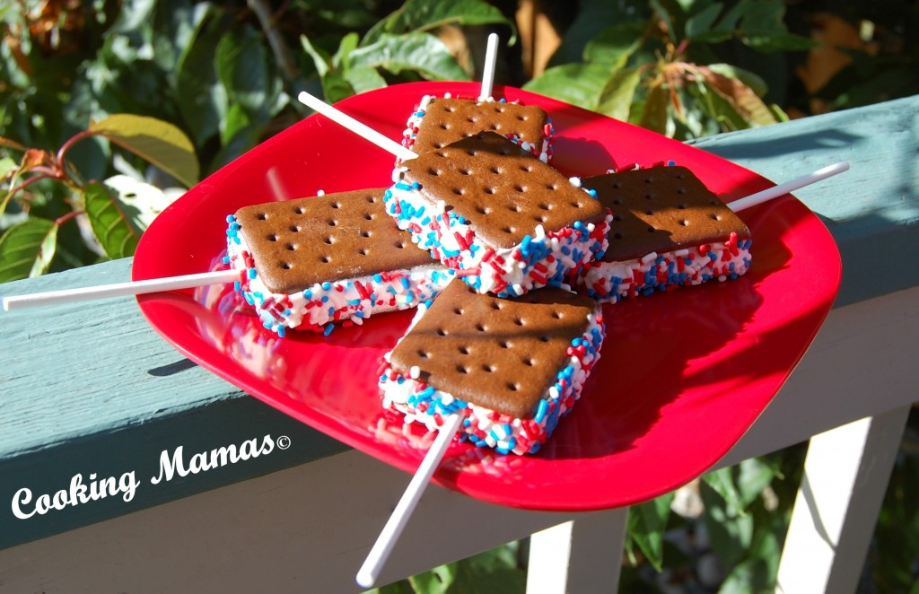 Red White & Blue Ice Cream Sandwiches