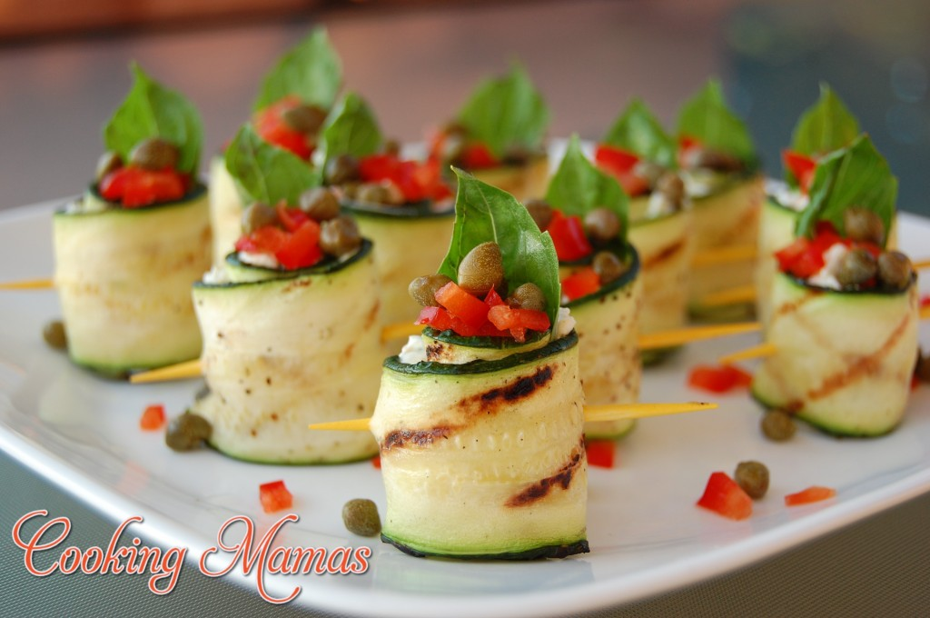 Grilled zucchini rolls with garden cream cheese cooking for Hot canape ideas