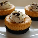 Mini Oreo Pumpkin Cheesecakes