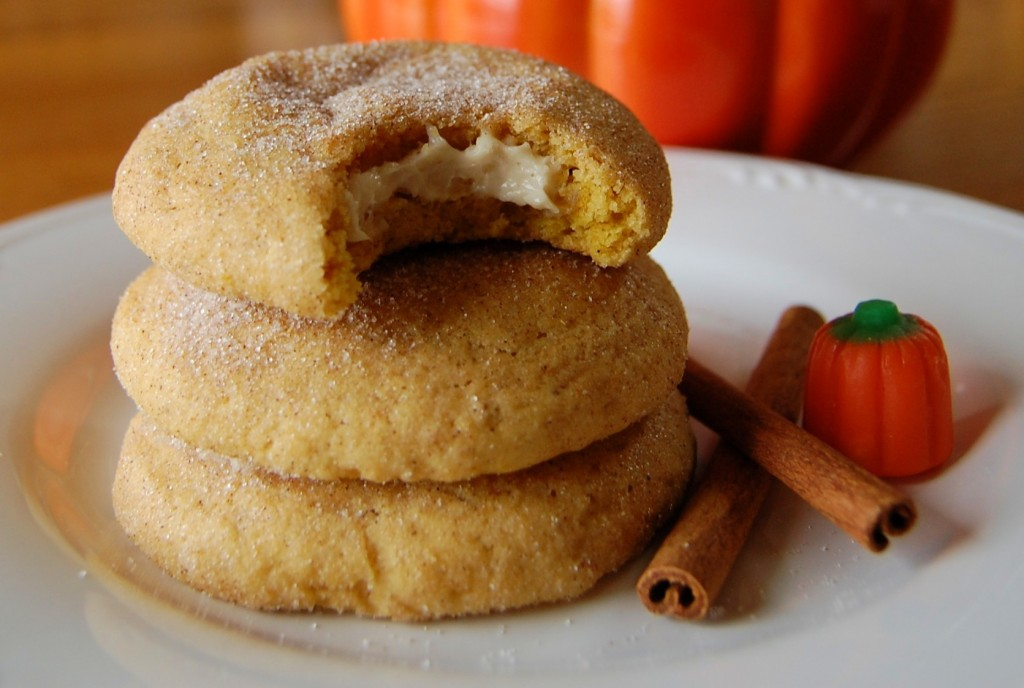Pumpkin Snickerdoodles with Cream Cheese Filling