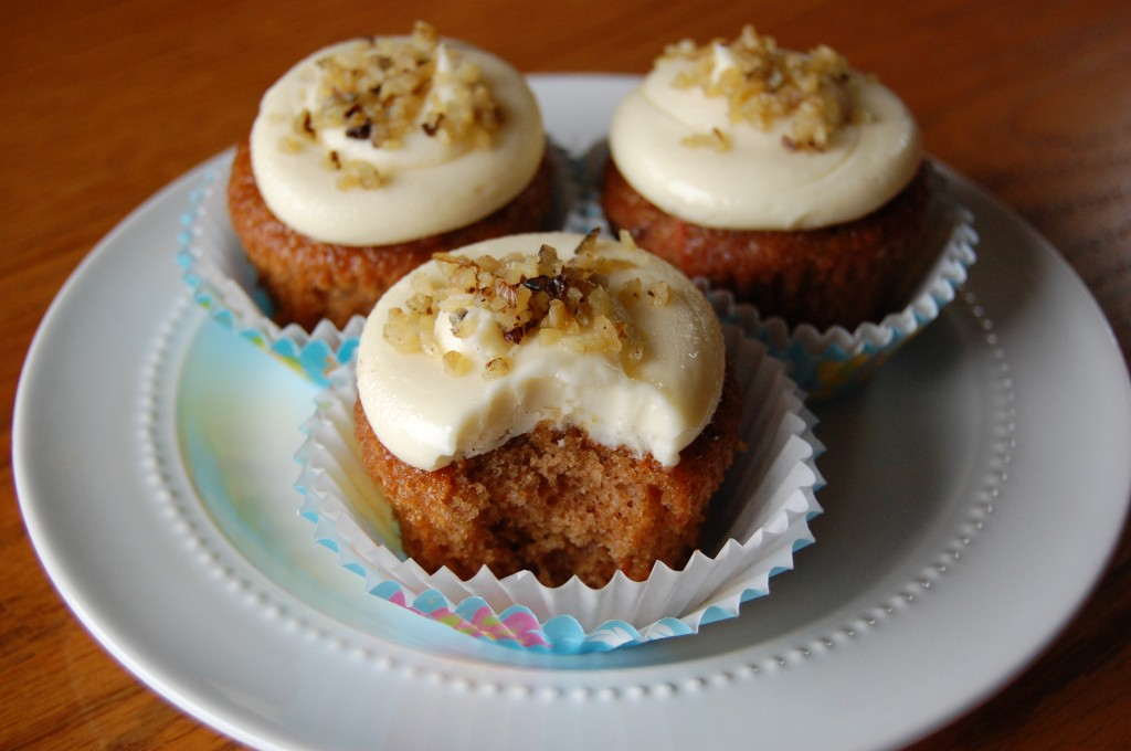 Carrot Cake Cupcakes with Orange Cream Cheese Frosting