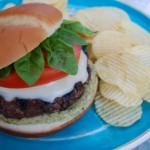 Caprese Burgers with Homemade Basil Pesto