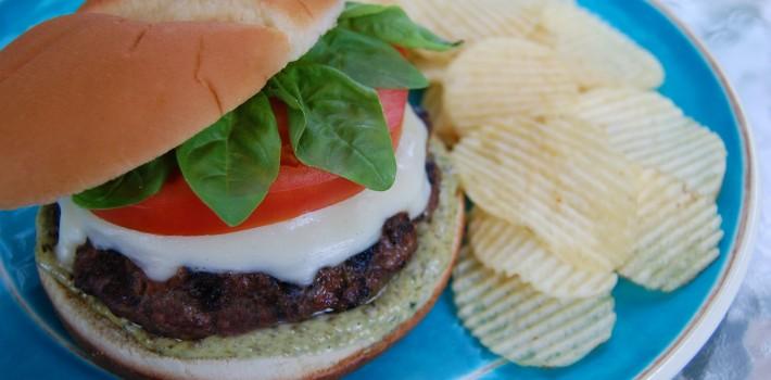 Caprese Burgers with Homemade Basil Pesto
