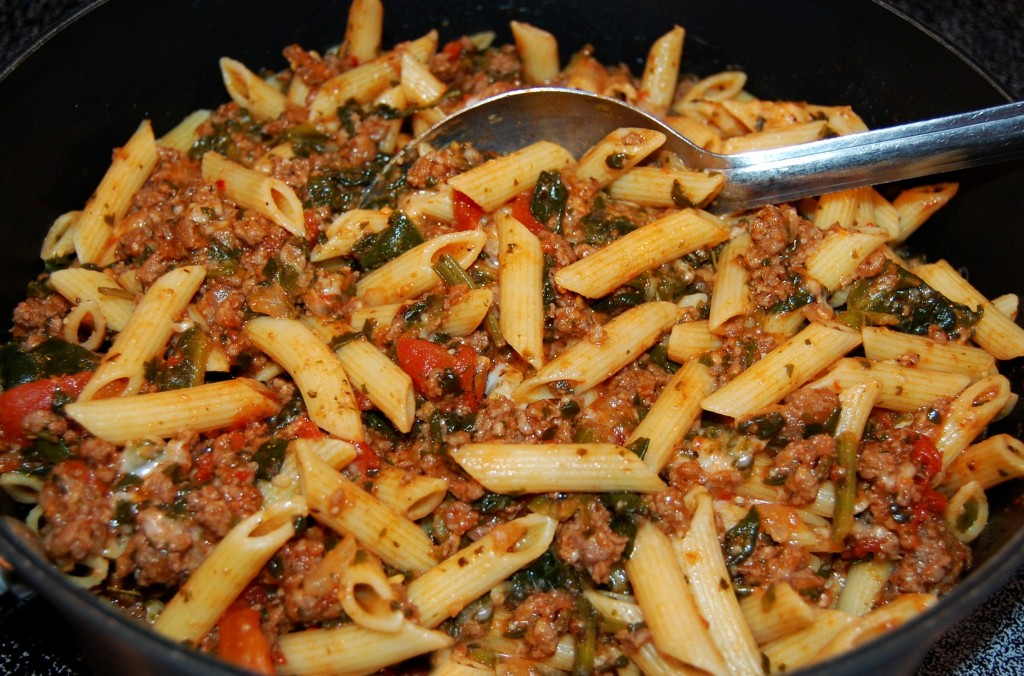 Skillet Beef and Pasta Florentine