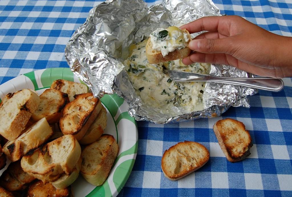 Campfire Spinach Artichoke Dip