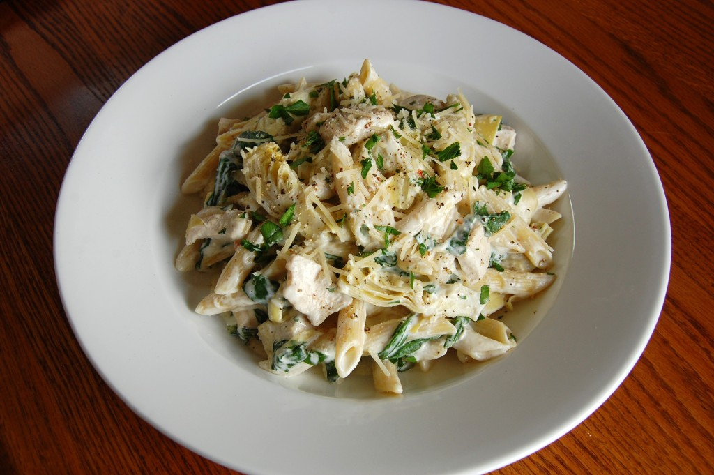 Spinach Artichoke Dip Pasta with Chicken