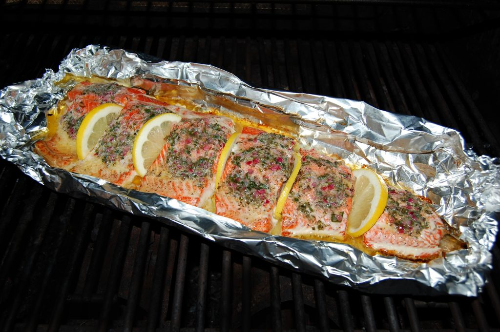 Grilled Salmon with Lemon and Herb Compound Butter