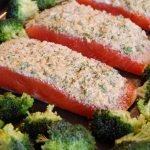 Sheet Pan Parmesan Crusted Salmon with Roasted Broccoli