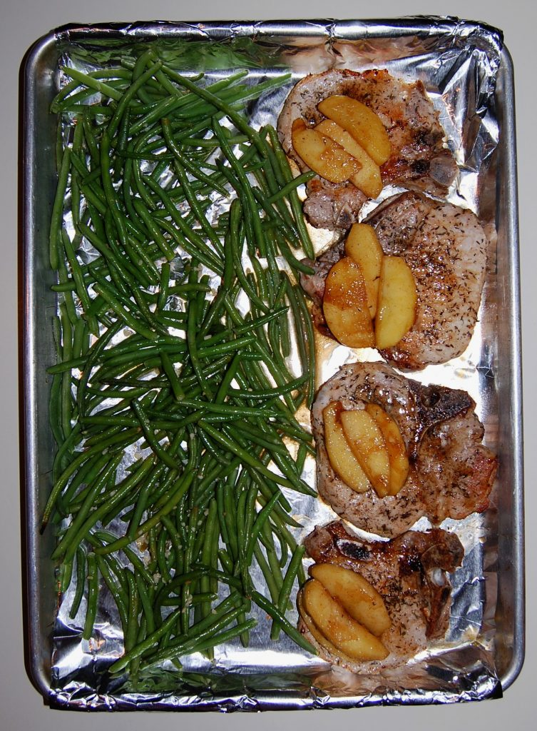 Sheet Pan Apple Pork Chops and Green Beans