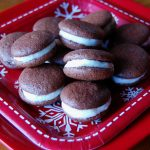 Chocolate Macarons with White Chocolate Peppermint Cream