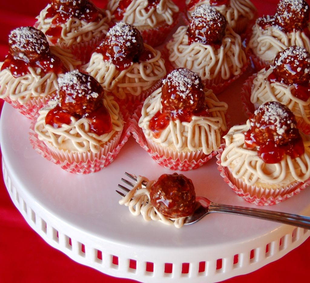 Spaghetti And Meatball Cupcakes Cooking Mamas