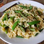 Bow Tie Pasta with Lemon Cream Sauce, Spring Peas, and Asparagus