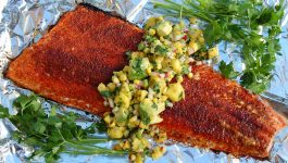 Grilled Salmon Topped with Mango Salsa