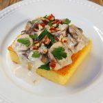 Polenta Cakes with Mushroom Gorgonzola Sauce