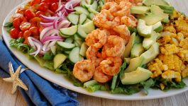 Shrimp with Grilled Corn and Tomato Salad