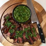 Pan Seared Steak Topped with Chimichurri Sauce