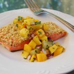 Tortilla Crusted Salmon with Tropical Fruit Salsa